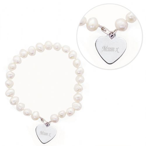 Personalised White Pearl Name Bracelet